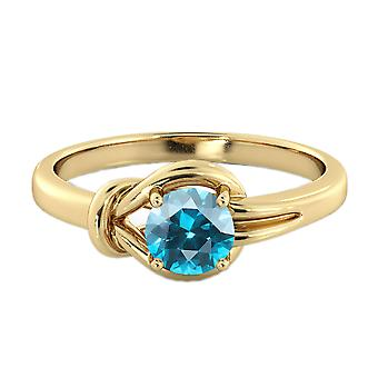 Blue Topaz 0.50 CT Ring 14K Yellow Gold Knot  4 prongs Round