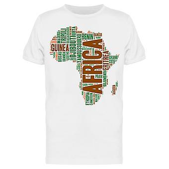Afrikka Kartta Tag Cloud Tee Men's -Kuva Shutterstock