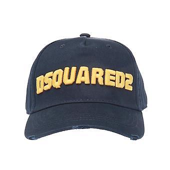 DSQUARED2 Dsquared2 | Bcm0222 Distressed Logo Baseball Cap - Marineblå/gul