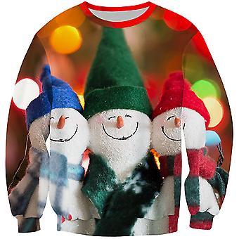 Allthemen Men's 3D Sweatershirt 3 Little Snowmmen 3D Pullover Sweatershirt