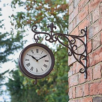 Outdoor Garden Wall Clock York Station 25x28.5cm With Thermometer Gauge