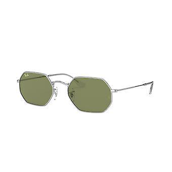 Ray-Ban achteckige Legende RB3556 9198/4E Silber/Flasche grüne Sonnenbrille