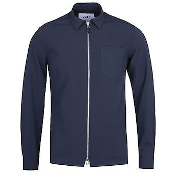 NN07 1352 Deep Navy Seersucker Long Sleeve Zip Shirt
