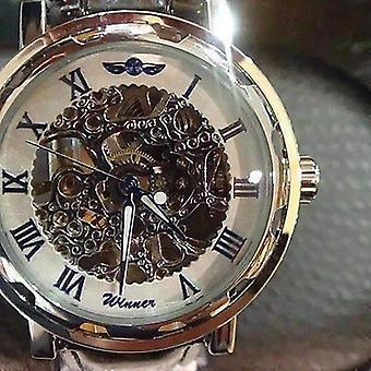Blue classic skeleton hand wind mechanical watch black leather strap for men