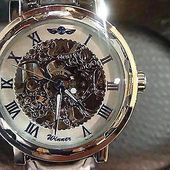 Bracelet mécanique de montre mécanique de vent de main classique bleu pour hommes