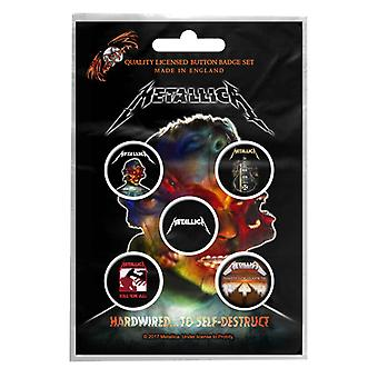 Metallica badge pack Band logo albums hardwired new Official 5 x Pin Button