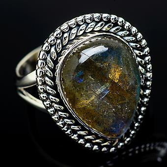 Labradorite Ring Size 7.5 (925 Sterling Silver)  - Handmade Boho Vintage Jewelry RING11830