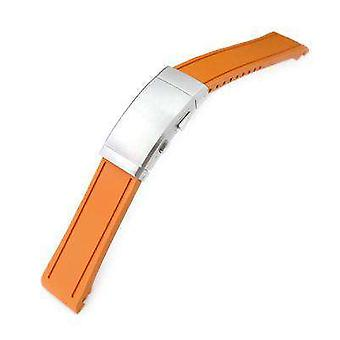 Strapcode rubber watch strap 20mm crafter blue - orange rubber curved lug watch band for seiko mm300 prospex marinemaster sbdx001, wetsuit wcp12987