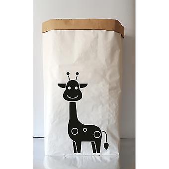 Cesta girafa Cor Branca, Preta em Placa Kraft, Vinil, L50xP15xA60 cm