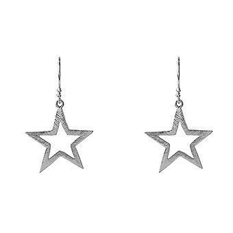 Latelita Sterling Silver Star Drop Earrings Large Hook Rose Gold Plain
