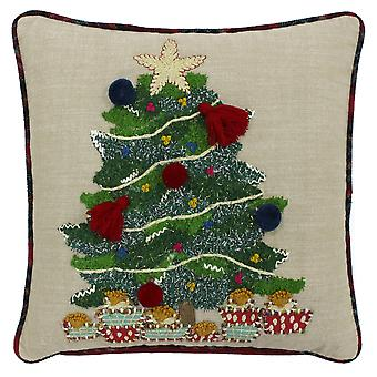Riva Home Artisan Christmas Tree Design Feather Filled Cushion