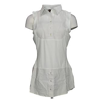 Kathleen Kirkwood Women's Dictrac-Ease Chambray Shirttail Top White A311148