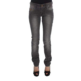 Galliano Gray Wash Cotton Blend Slim Fit Stretch Jeans -- SIG3005296