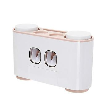 Wall-mounted Automatic Toothpaste Dispenser Toothbrush Holder Bathroom Washing Sets Toothpaste Squeezer Toothbrush Storage