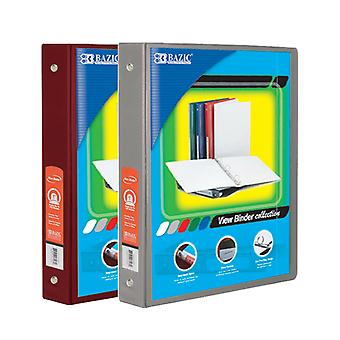 Combo70, BAZIC 1.5 Inch 3-Ring View Binder with 2-Pockets (Case pack of 24 consist 12-Burgundy & 12-Grey)