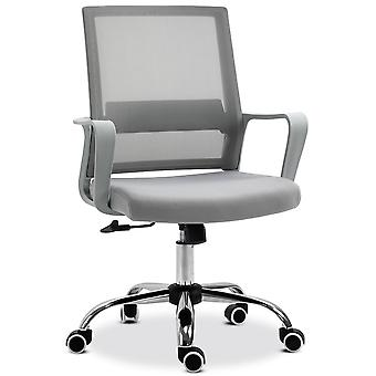 Vinsetto Ergonomic Office Chair Adjustable Height Breathable Mesh Desk Chair w/Armrest and 360° Swivel Castor Wheels Grey