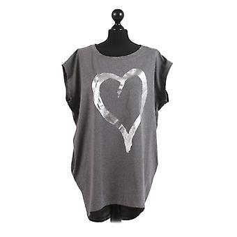 Womens Foil Heart Print Dipped Hem Top | Charcoal | One Size (UK14-20)