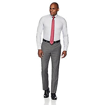 """BUTTONED DOWN Men's Slim Fit Spread Collar Pattern Non-Iron Dress Shirt, Grey Houndstooth, 15"""" Neck 35"""" Sleeve"""