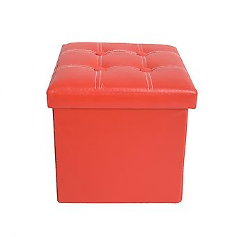 Rebecca Furniture Pouf Cube Container Red Puff Stool Ecopelle 30x30x30