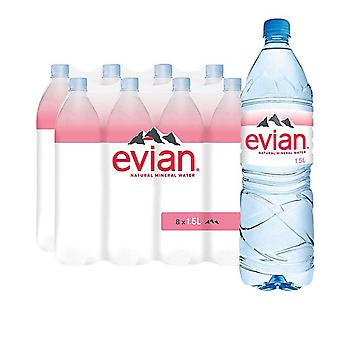 8 x 1.5 Ltr Bottle Evian Natural Spring Still Mineral Water Hydrate Soft Drink