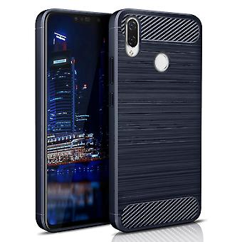 Solid Color Carbon Fiber Shell for Huawei P30 Lite Silicone Phone Shockproof Navy Blue