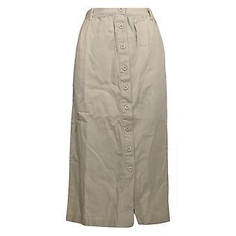 Serengeti Petite Skirt Twill Buttoned Front Stone Beige
