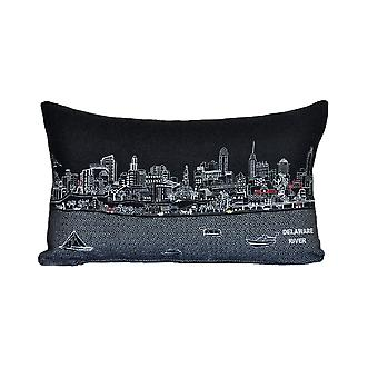 Spura Home Philadelphia Skyline Embroidered Wool Cushion Day/Night Setting