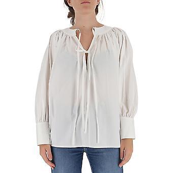 L'autre Koos B1520589023u006 Dames's White Cotton Blouse