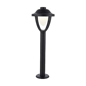Integrated LED 1 Light Outdoor Bollard Post Textured Black, Clear IP44