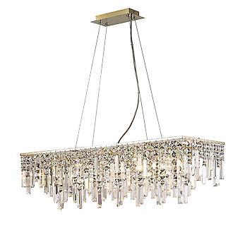 Geïnspireerd Diyas - Maddison - Plafond hanger Rechthoekig 6 Licht G9 Rose Gold, Crystal