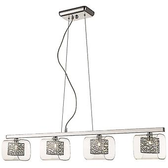 4 Light Ceiling Pendant Bar Mesh Chrome Glass Four, G9