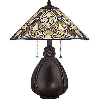 2 Lampe de table légère Bronze Impérial, Tiffany Glass, E27