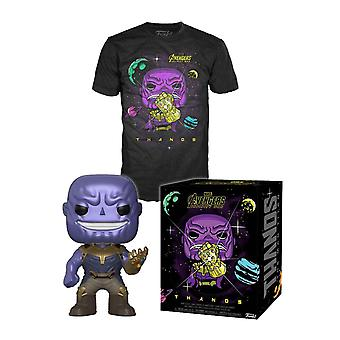 Thanos T Shirt and Funko Pop Figure Boxed gift set new Official Mens Black