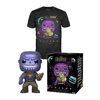 Thanos T Shirt och Funko Pop Figur Boxed gåva som nya officiella Mens Black
