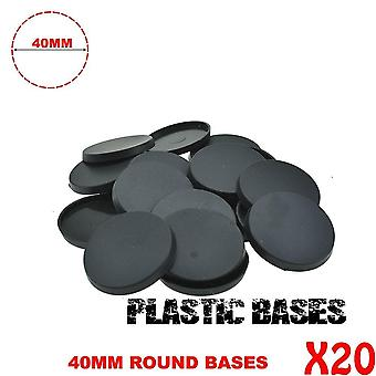 20pcs 40mm Gaming Miniatures Plastic Runde Baser For Wargames