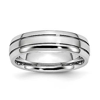 Kobolt krom räfflad polerad Engravable polska Satin 6mm Band Ring - Ring storlek: 7-13