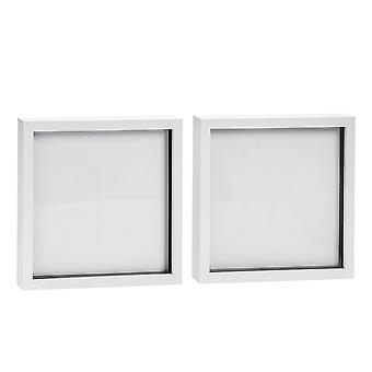 Nicola Spring Photo Frame - Acrylic Box Frame (Glass Cover) - 20x20in - White - Pack of 2