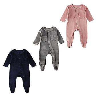 fløyel langermet jumpsuit for babyer