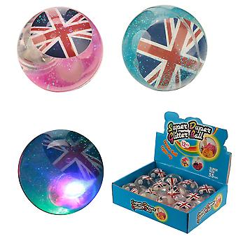 Kids Fun clignotant gonflable Union Flag Glitter Ball