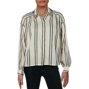Vince Camuto   Embroidered Long Sleeves Button-Down Top