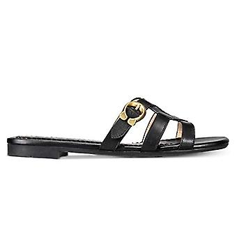 Coach Womens Kennedy Leather Open Toe Casual Slide Sandals, Black