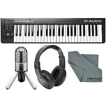 M-audio keystation 49 ii midi keyboard controller with samson meteor mic usb studio condenser microphone bundle