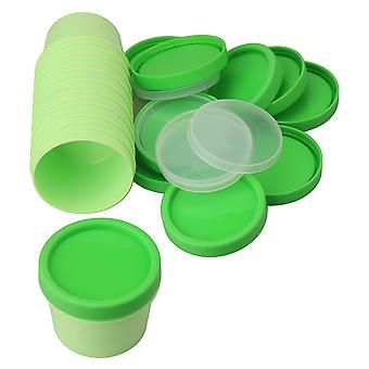 10x Empty Plastic Cosmetic Bottle Containers 100 Gram with Lids Green