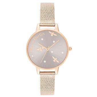 Olivia Burton Ob16pq04 Pearly Queen Silver Sunray Dial And Rose Gold Boucle Mesh Ladies Watch