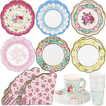 Truly Scrumptious Tea Party Scalloped Napkin Paper Cups Plates for 12