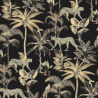 Savannah Black Gold Wallpaper Textured Shimmer Cheetah Palm Tree Jungle Tropical