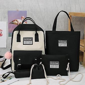 3 Sets Kids Schoolbag / Flowers Printing Travel Bagpacks, Canvas Zipper School