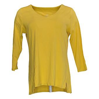 J.Jill Women's Top V-Neck Long Sleeve T-Shirt Yellow A390661