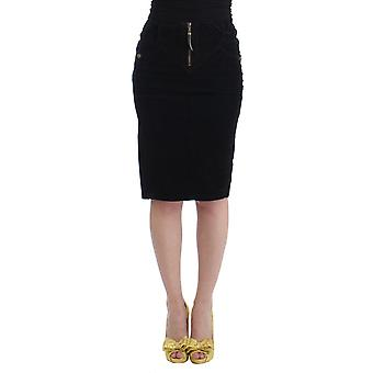 Cavalli Black Corduroy Pencil Skirt