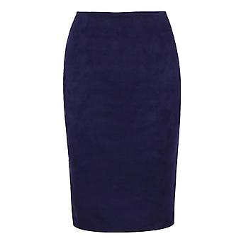 Women Winter Solid Suede Multi Package Hip Pencil Midi Skirt Autumn Winter